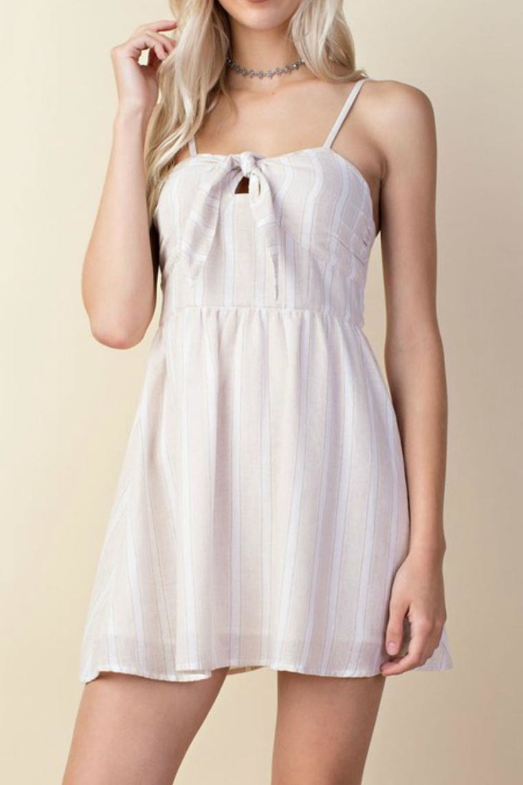 LLove USA Taupe Babydoll Dress - Front Cropped Image