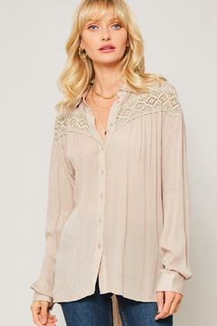 Promesa  Taupe Beige Crochet Lace Blouse - Product List Image