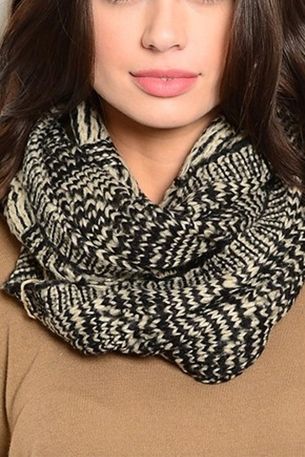 Lyn -Maree's Taupe & Black Neck Warmer Scarf - Main Image