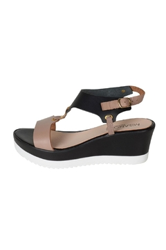 Shoptiques Product: Taupe & Black T-Bar-Wedge