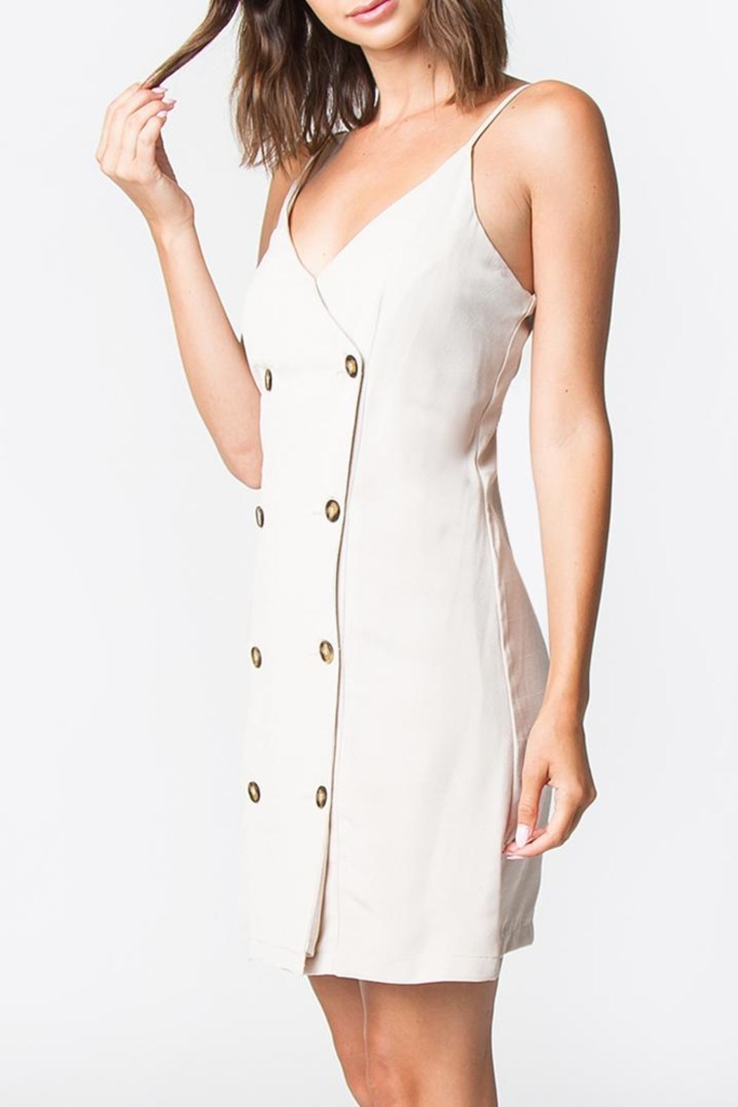 Sugarlips Taupe Button-Down Dress - Front Full Image