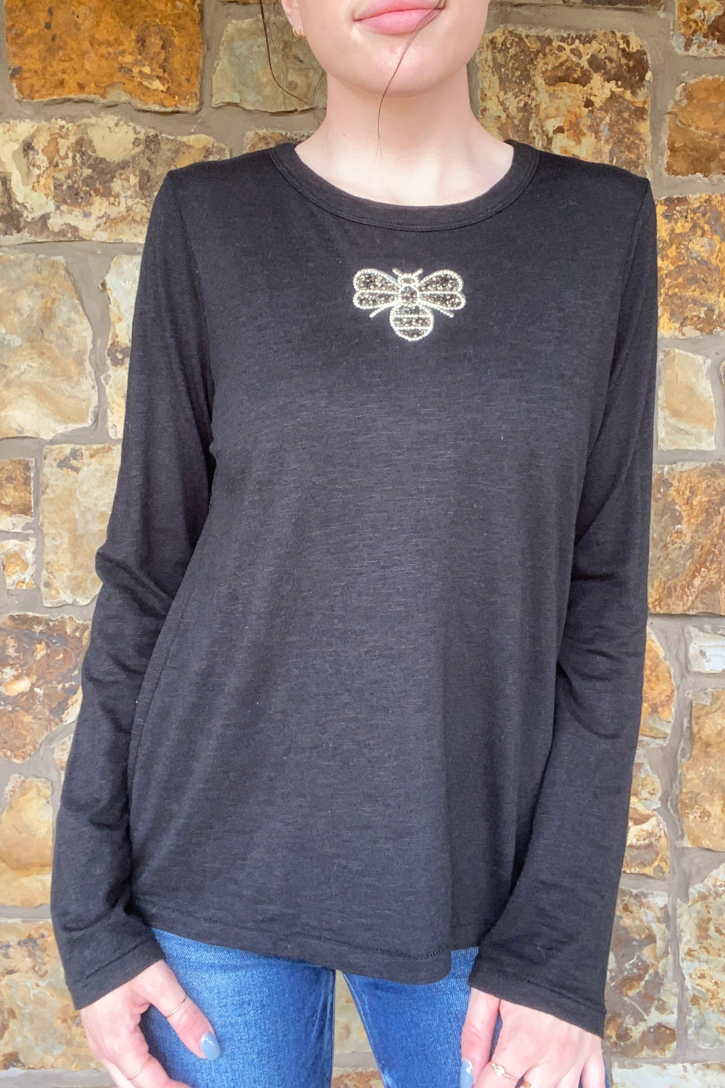 LuLuLisa Taupe Crystal Bee L/S Brushed Tee - Main Image
