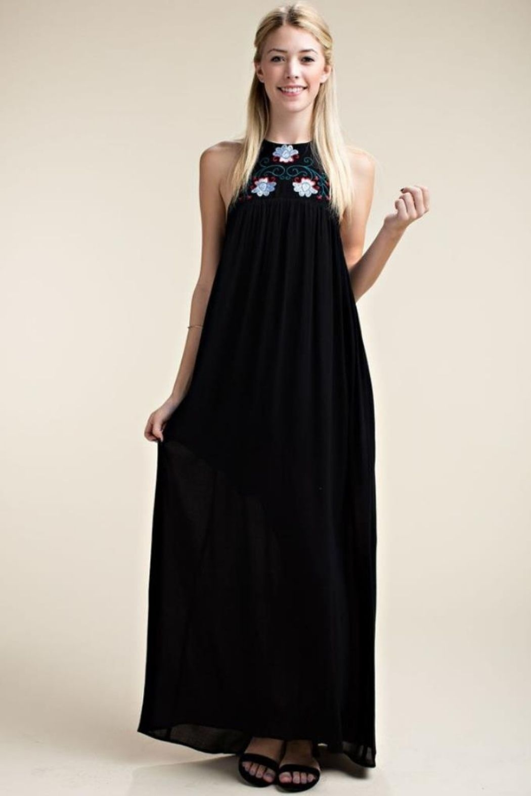 Cali Urbn Taupe Embroidered Halter Neck Maxi (Shown in Black) - Main Image