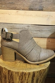 Qupid Taupe Faux Leather Strap Front Bootie - Front full body