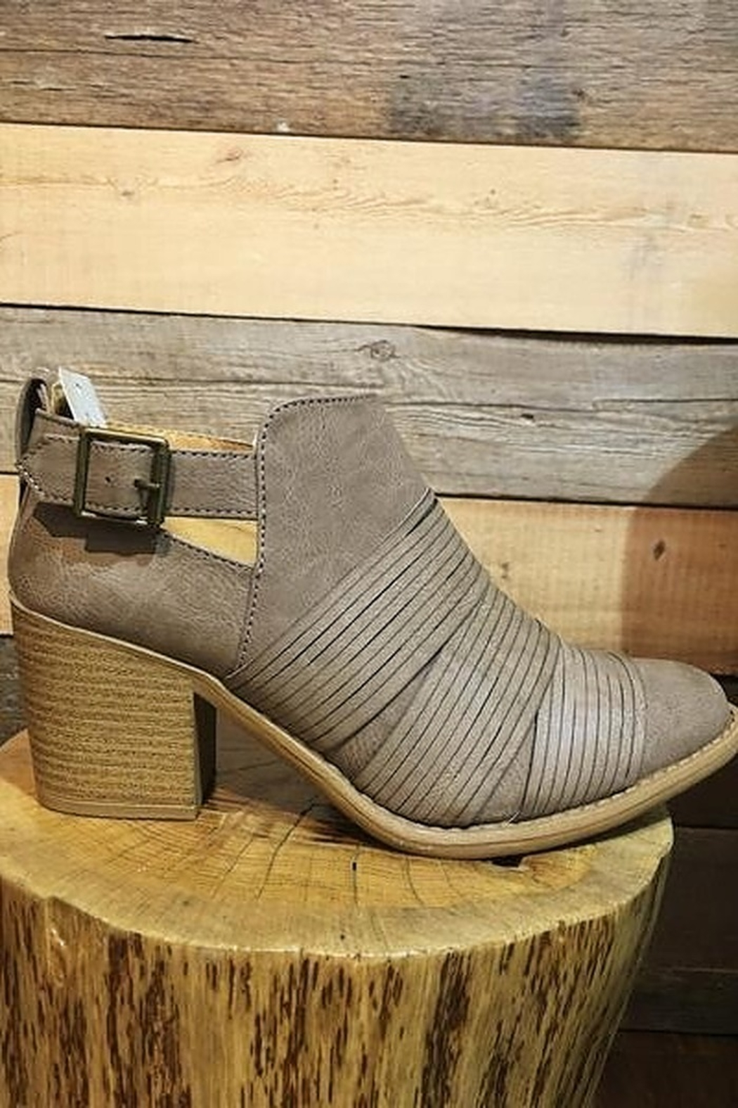 Qupid Taupe Faux Leather Strap Front Bootie - Main Image