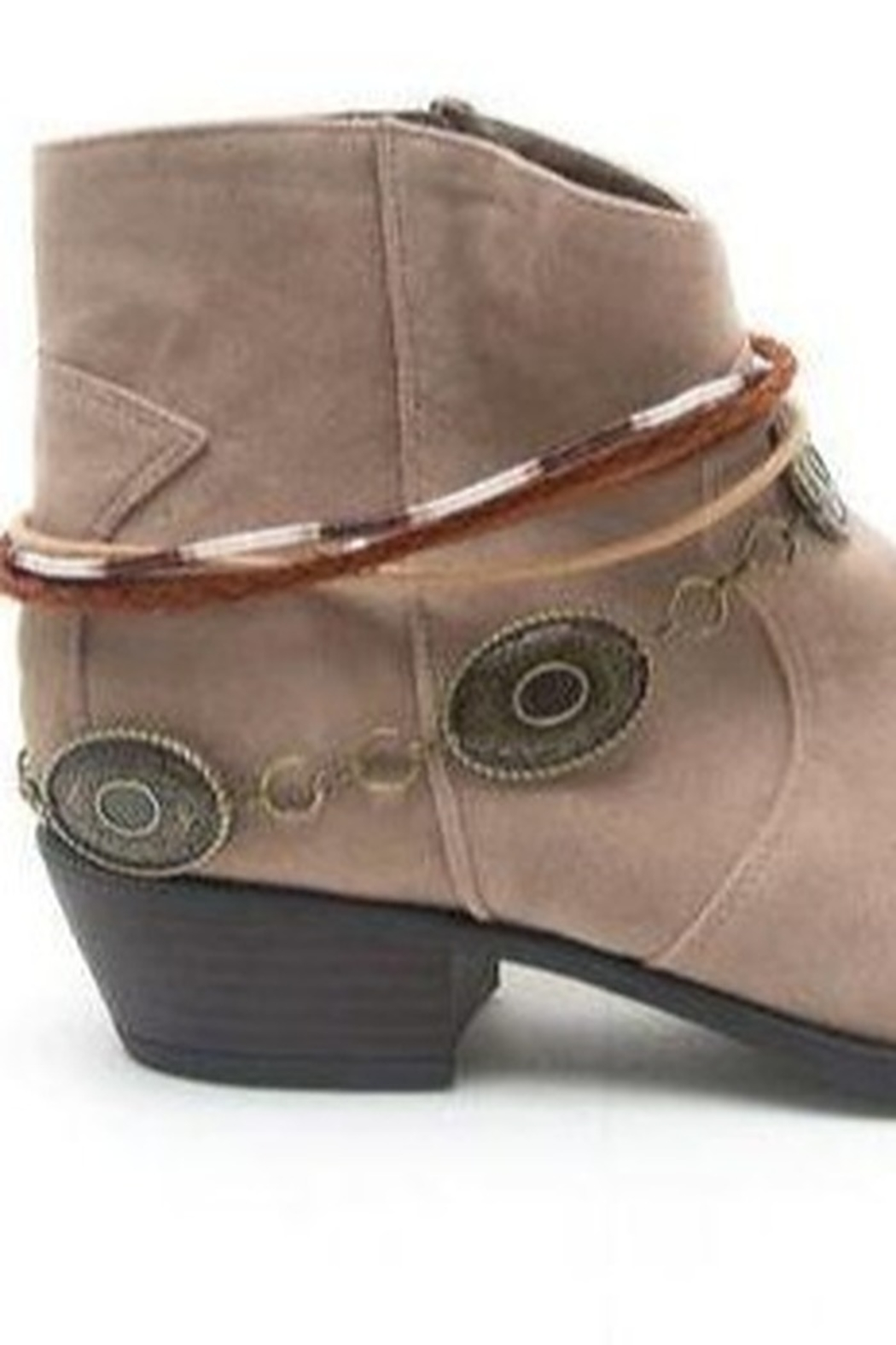 Qupid Taupe Faux Suede Anklet Bootie - Main Image