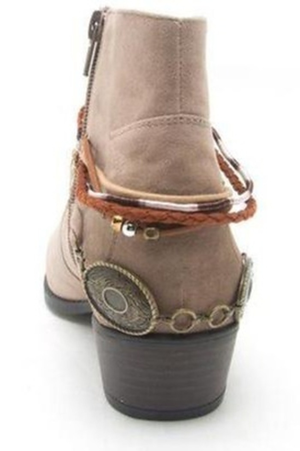 Qupid Taupe Faux Suede Anklet Bootie - Front Full Image