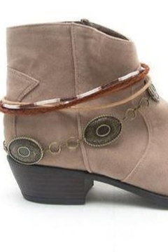 Qupid Taupe Faux Suede Anklet Bootie - Alternate List Image