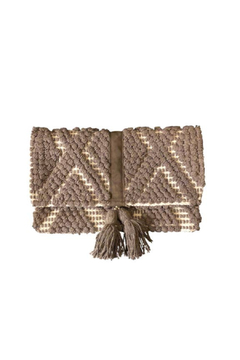 Chloe & Lex Taupe Fold Over Clutch with Tassel - Alternate List Image