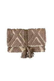 Chloe & Lex Taupe Fold Over Clutch with Tassel - Product Mini Image