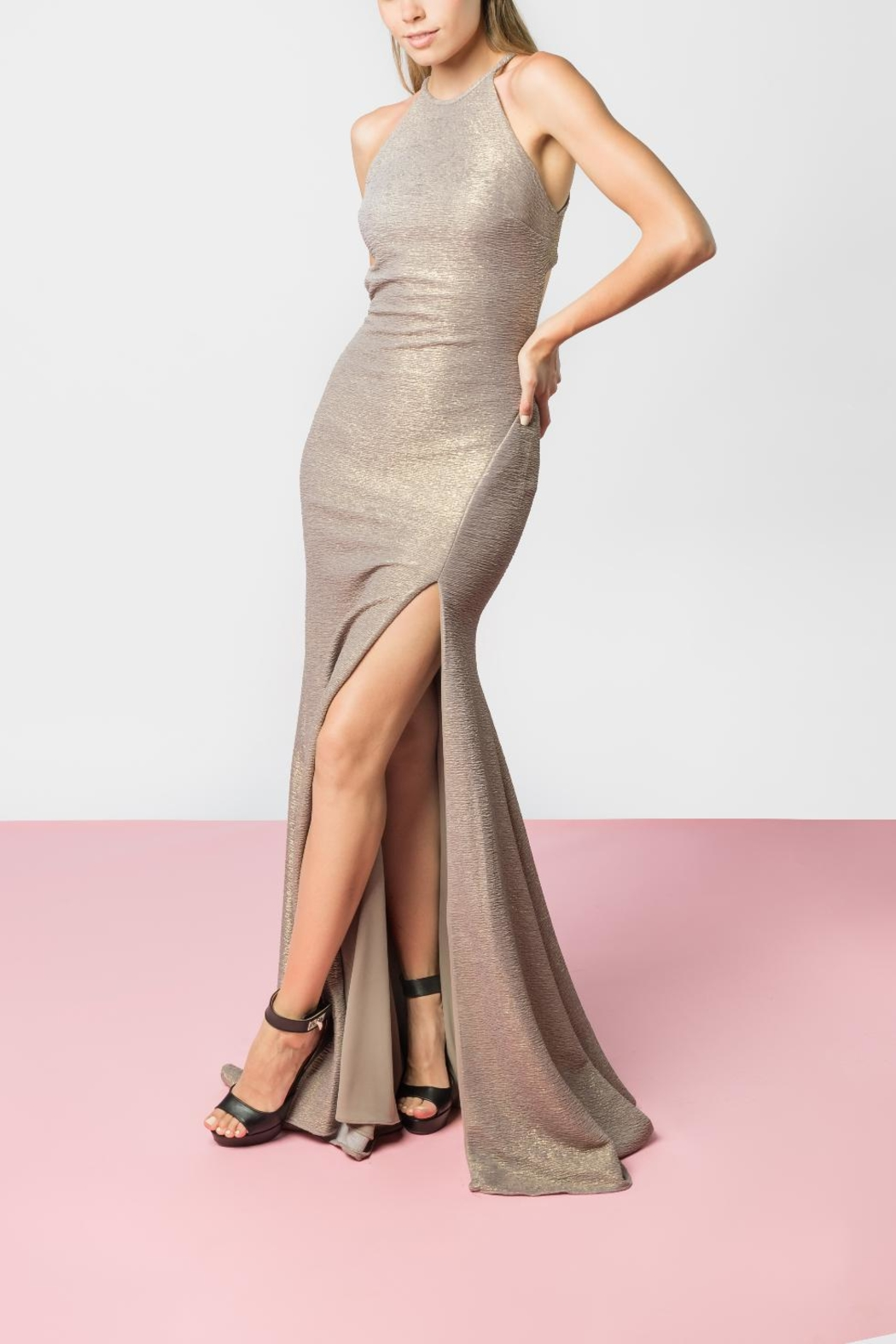 Jovani Taupe Gold Gown from Monterrey by Mona Mour — Shoptiques