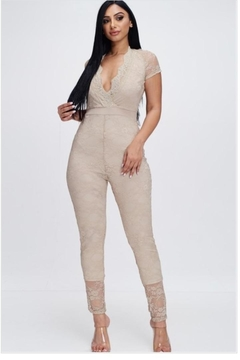 Lydia Taupe Lace Jumpsuit - Product List Image