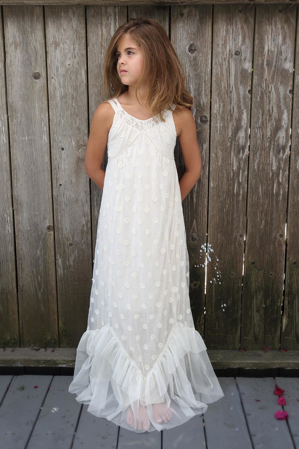 Isobella and Chloe Taupe Maxi-Dress W/laceoverl - Main Image