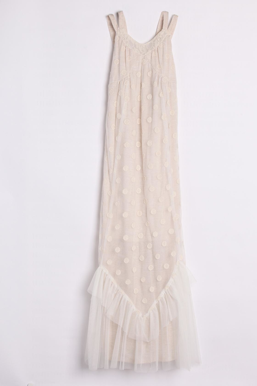 Isobella and Chloe Taupe Maxi-Dress W/laceoverl - Front Full Image
