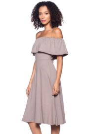 Capella Apparel Taupe Off Shoulder Fit 'N Flare Dress - Product Mini Image