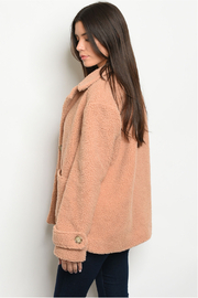fashion on earth Taupe Plush Coat - Front full body