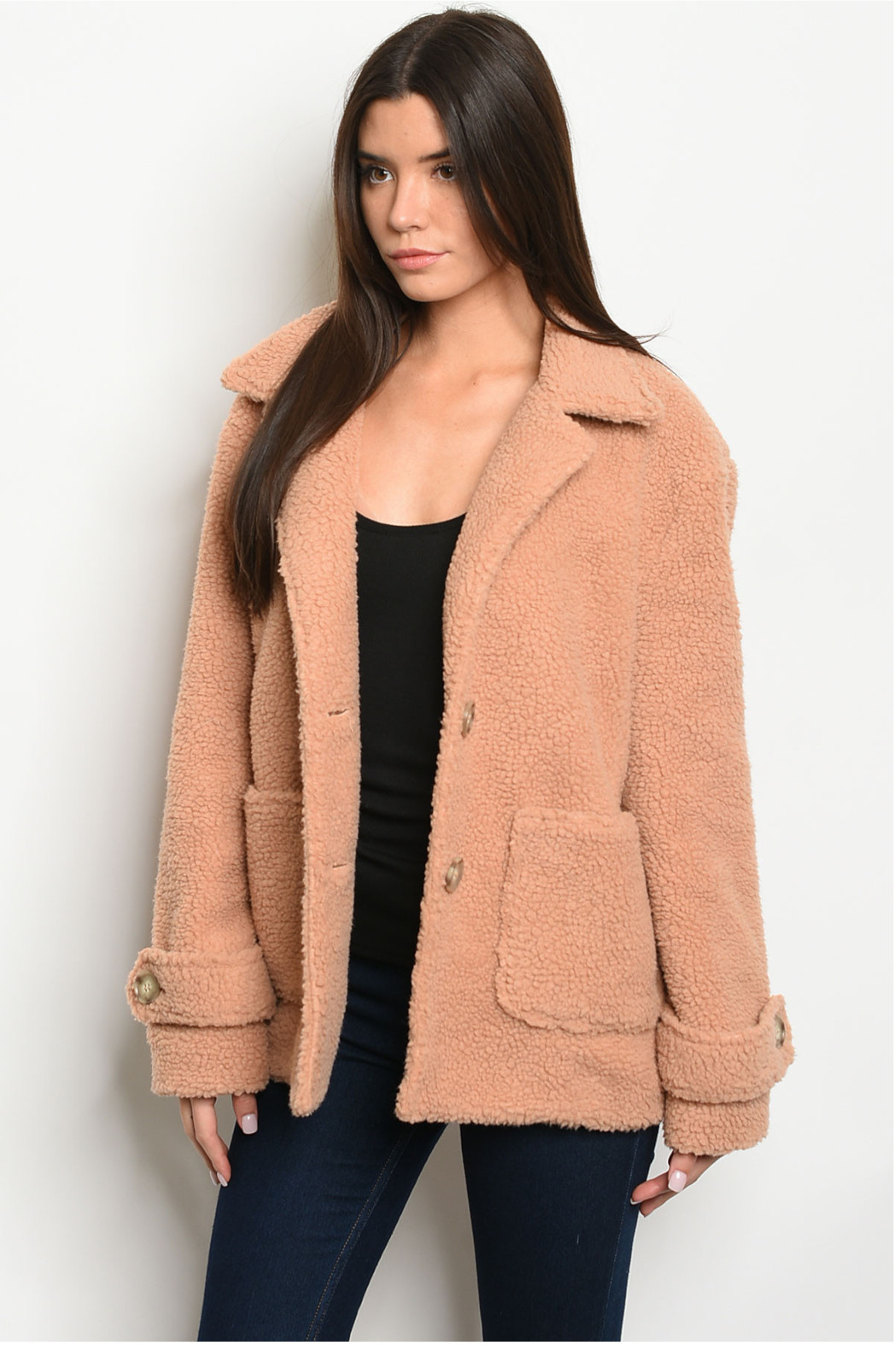 fashion on earth Taupe Plush Coat - Front Cropped Image