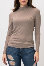 Cozy Casual Taupe Ribbed Mock-Neck - Product Mini Image