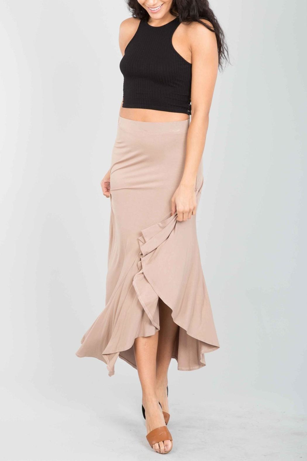 Love in  Taupe Ruffle Maxi-Skirt - Side Cropped Image