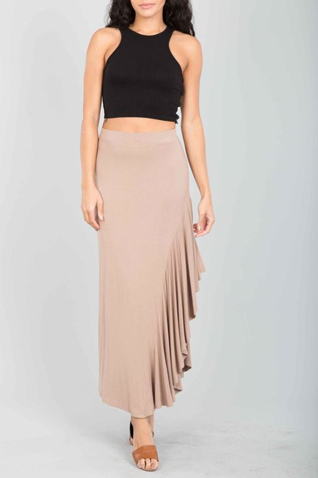 Love in  Taupe Ruffle Maxi-Skirt - Main Image