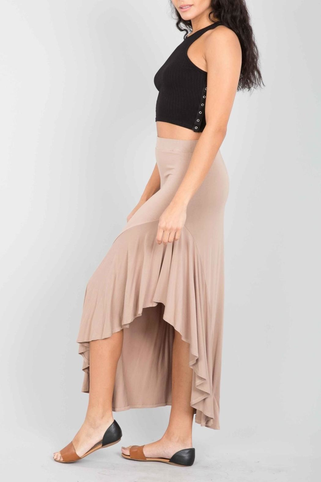 Love in  Taupe Ruffle Maxi-Skirt - Front Full Image