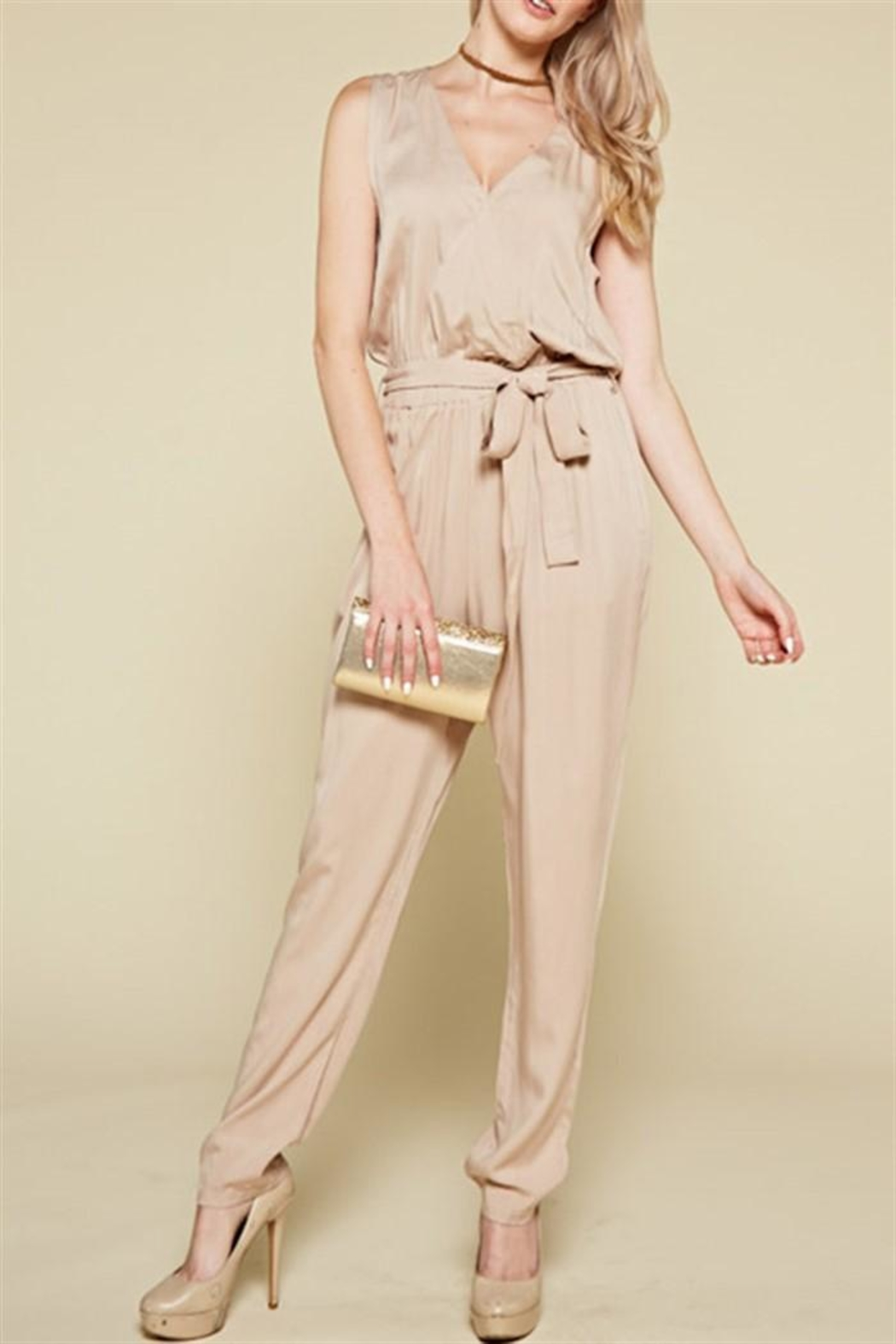 Chloah Taupe Satin Jumpsuit - Main Image