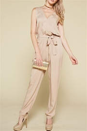 Chloah Taupe Satin Jumpsuit - Front cropped