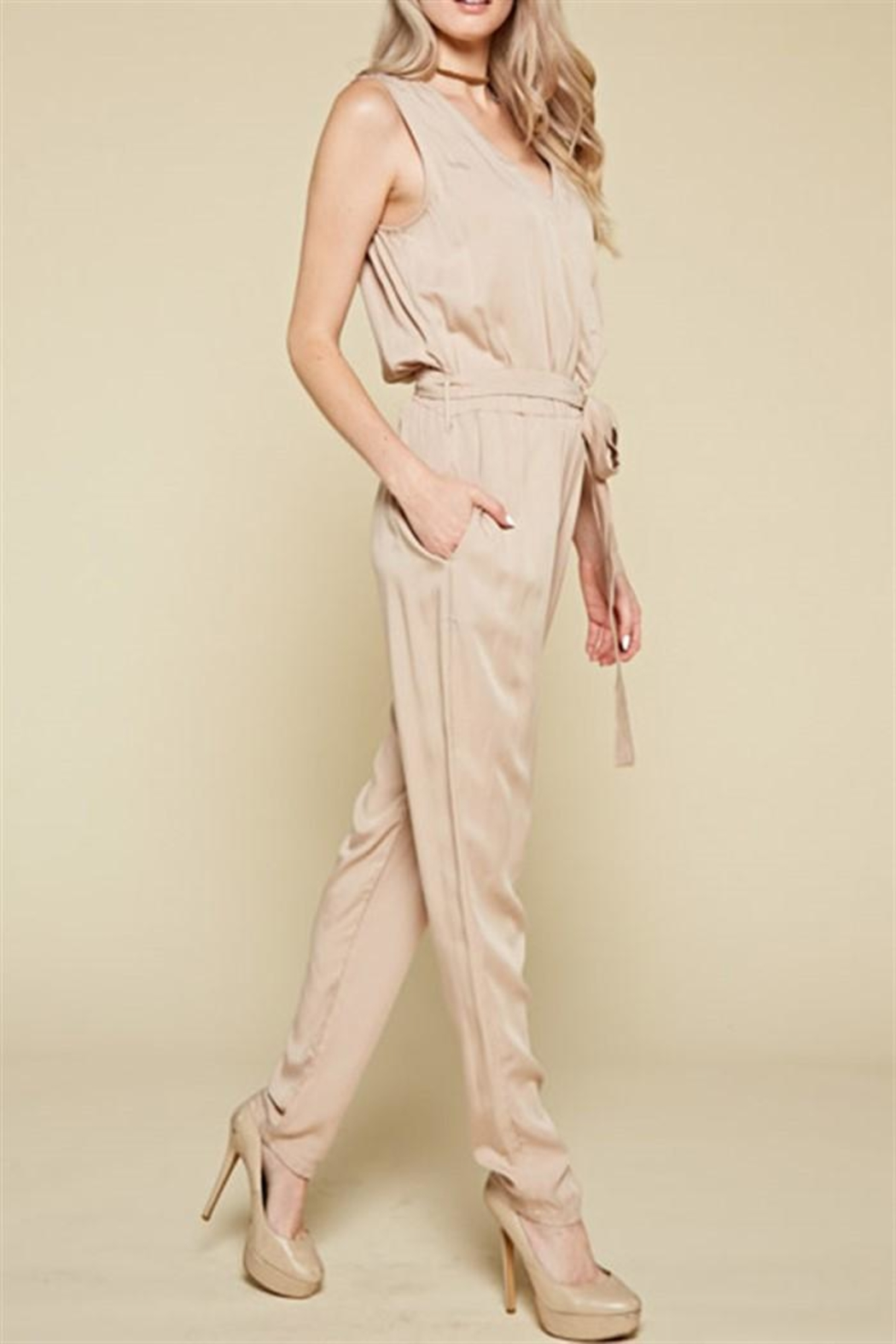 Chloah Taupe Satin Jumpsuit - Front Full Image