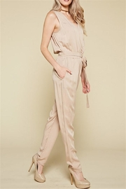 Chloah Taupe Satin Jumpsuit - Front full body