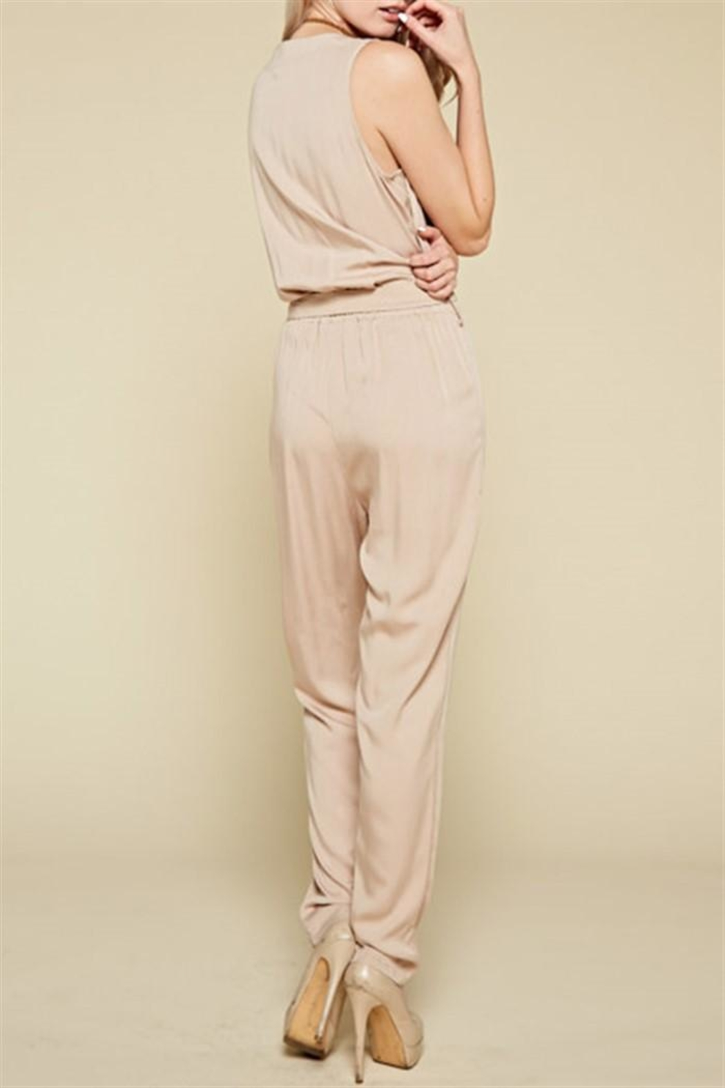Chloah Taupe Satin Jumpsuit - Side Cropped Image