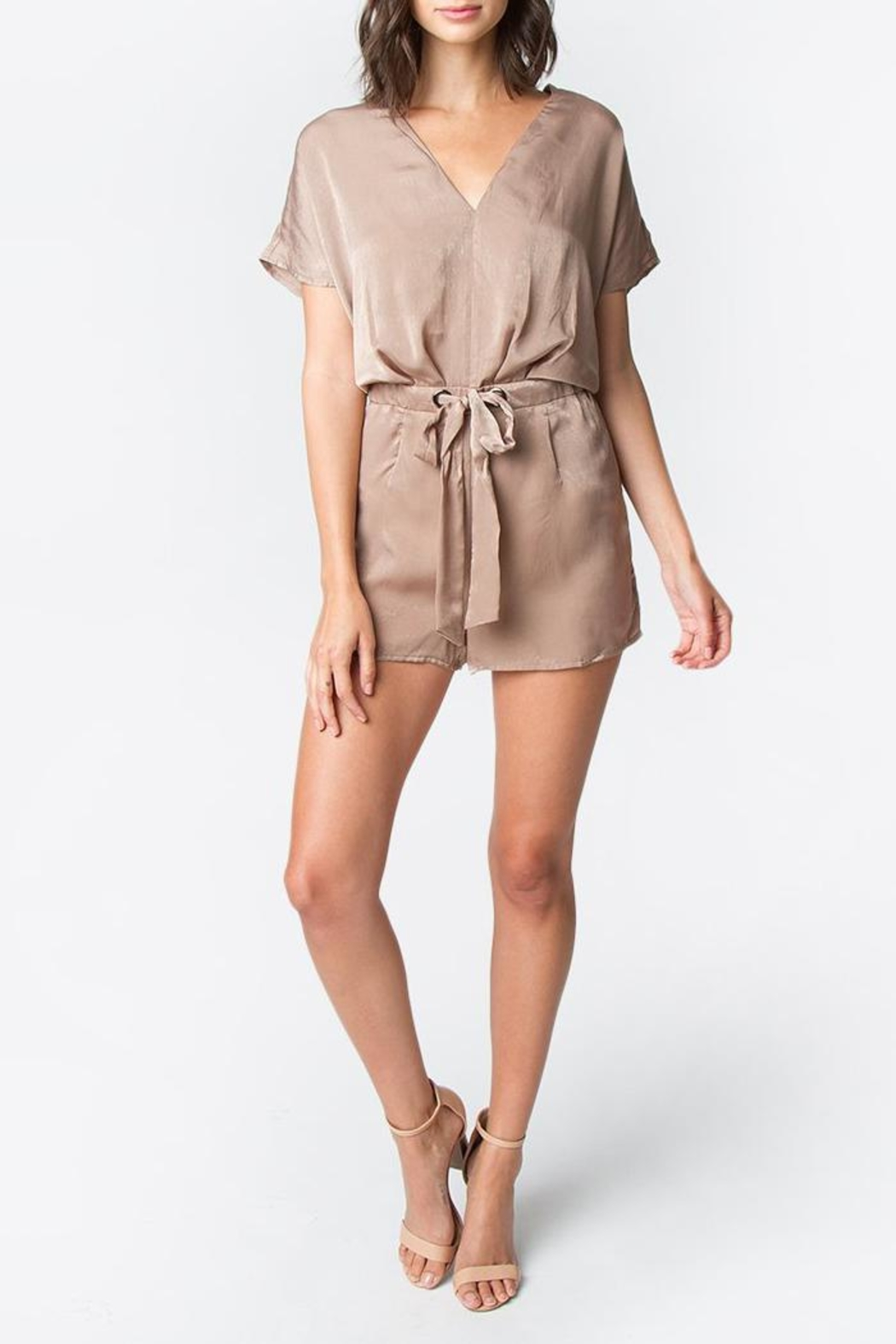 b3e5f53d075 Sugar Lips Taupe Satin Romper from New York by Luna — Shoptiques