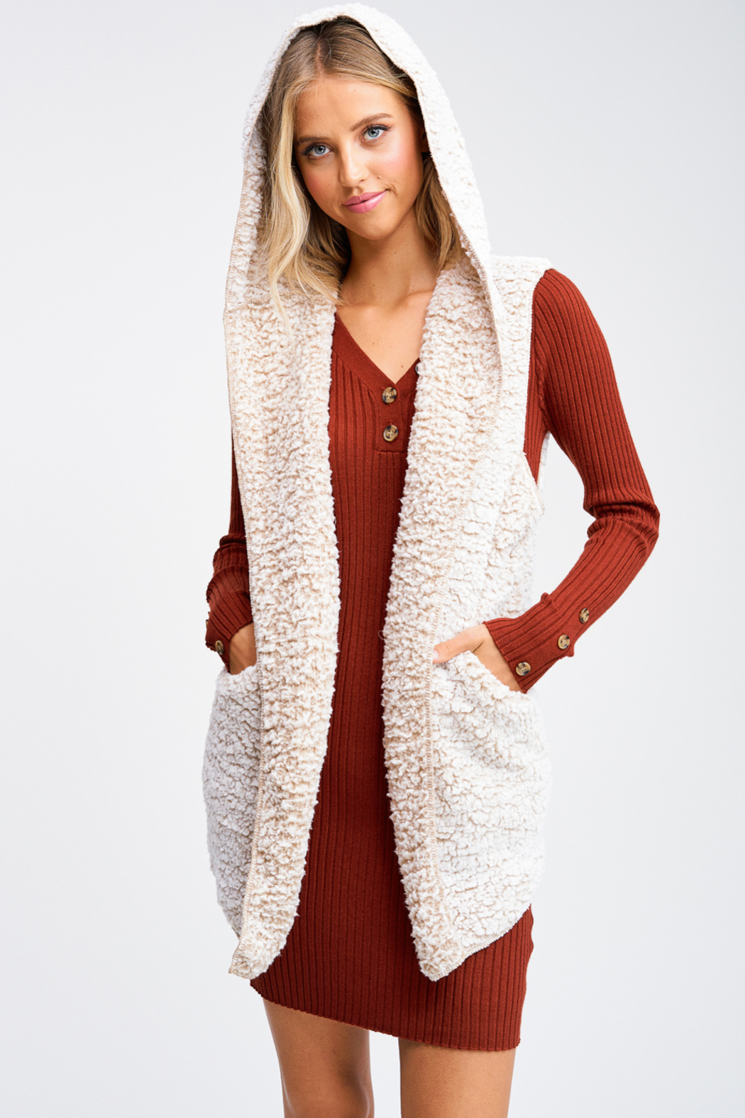 MONTREZ Taupe sherpa fleece cardigan vest - Front Full Image