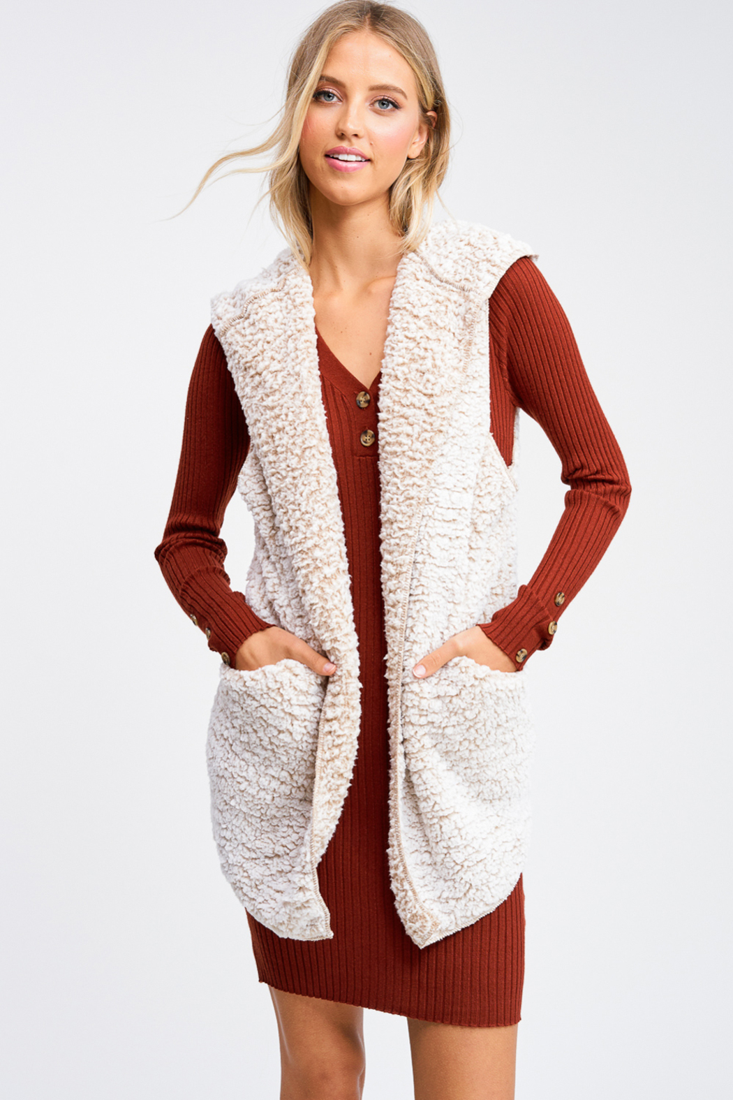MONTREZ Taupe sherpa fleece cardigan vest - Front Cropped Image