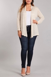 Chris & Carol Taupe Striped Cardigan - Product Mini Image