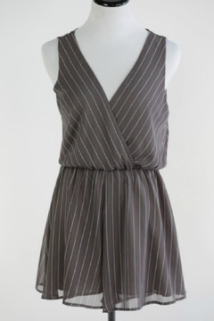 Shoptiques Product: Taupe Striped Romper