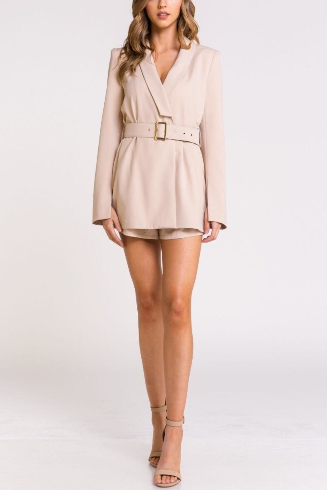 Blithe  Taupe Tuxedo Romper - Front Cropped Image