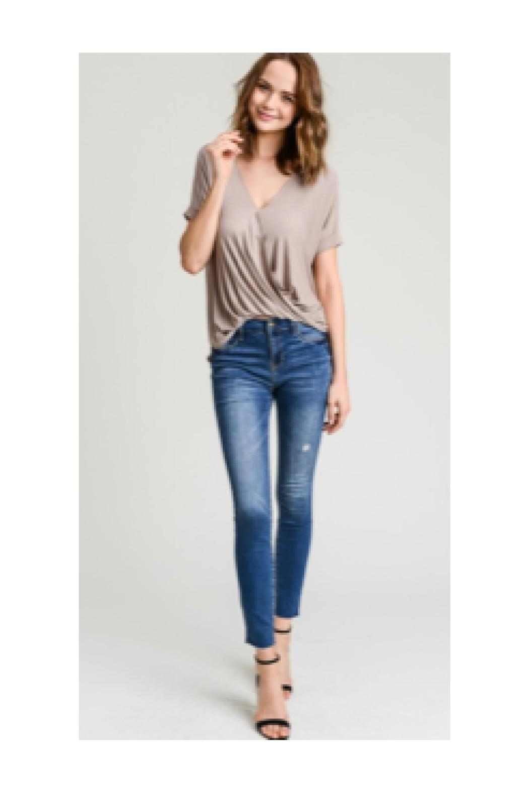 Polly & Esther Taupe V-Neck Top - Main Image