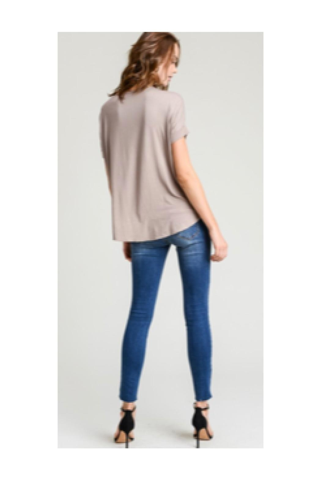 Polly & Esther Taupe V-Neck Top - Front Full Image
