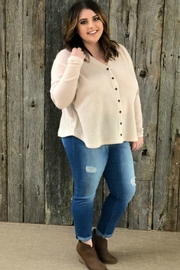 Izzie's Boutique Taupe Waffleknit Top - Product Mini Image