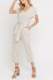 Lush Clothing  Taupe Waist-Tie Jumpsuit - Product Mini Image