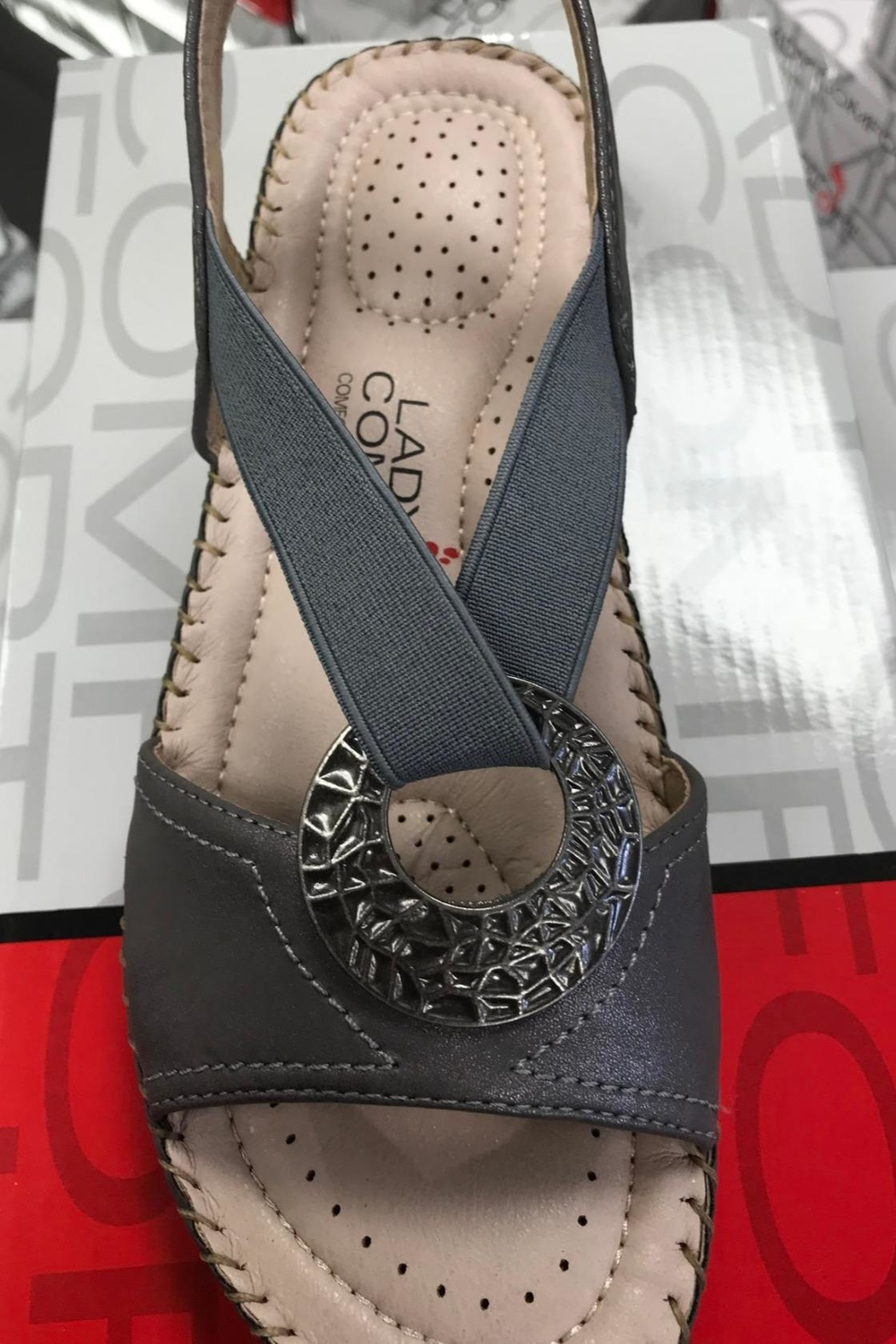 Taxi Grey Shimmer Comfort Sandal - Front Cropped Image