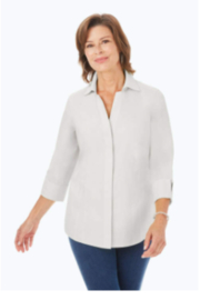 Foxcroft Taylor Fitted 3/4 Sleeve Non Iron Top - Product Mini Image