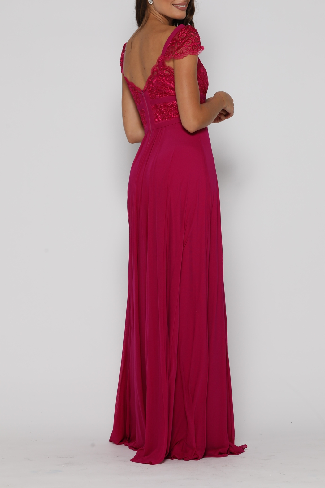 Jadore Taylor Gown Raspberry - Side Cropped Image
