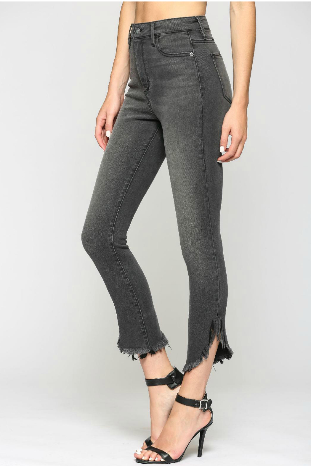 Hidden Jeans TAYLOR GREY HIGH RISE FRAYED SKINNY - Front Full Image