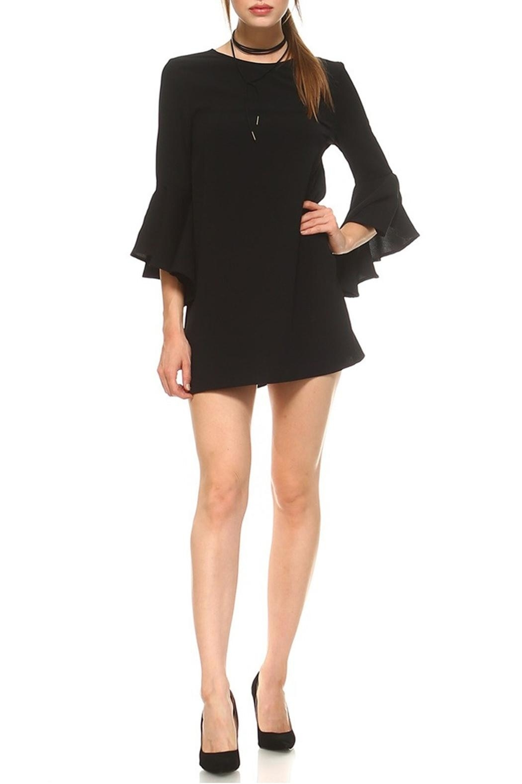 TCEC Black Trumpet Dress - Front Cropped Image