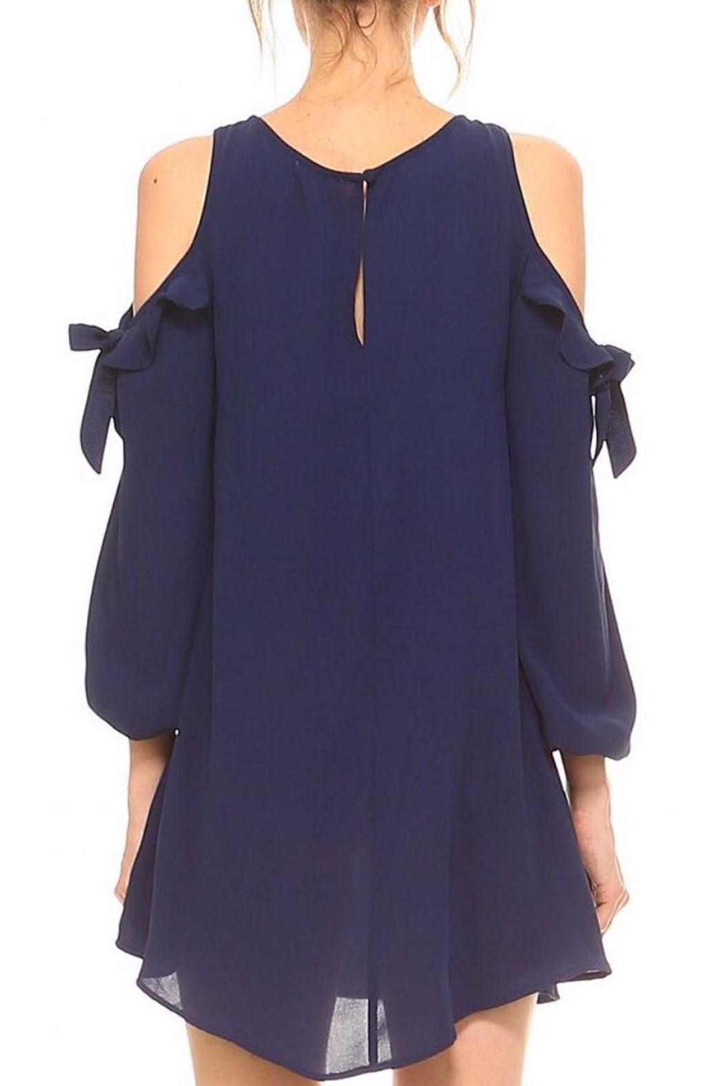 TCEC Navy Cold-Shoulder Dress - Front Full Image