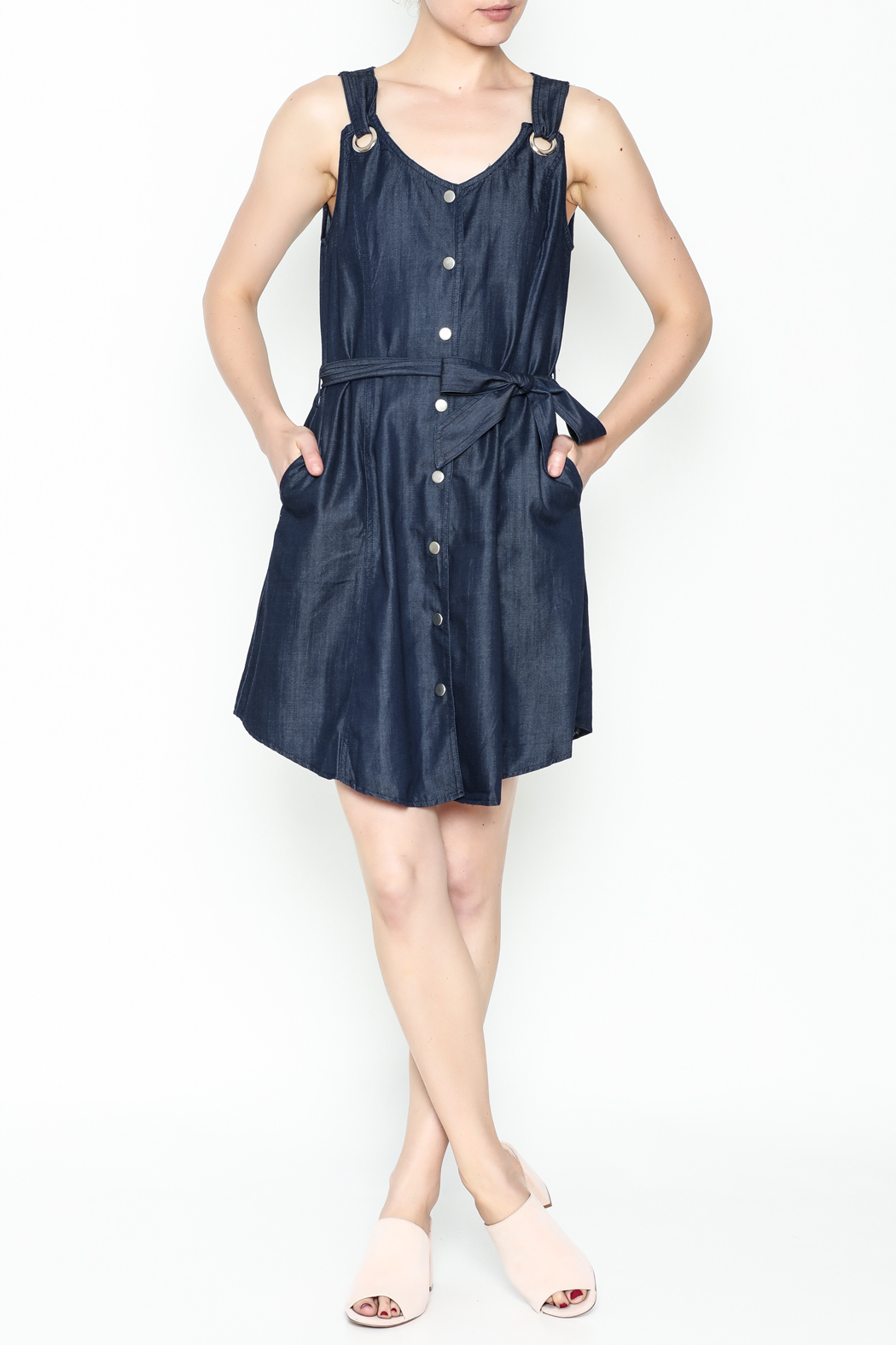 Tea & Cup Denim Button Dress - Side Cropped Image