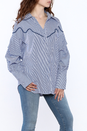 Tea & Cup Stripe Button Down Top - Product Mini Image
