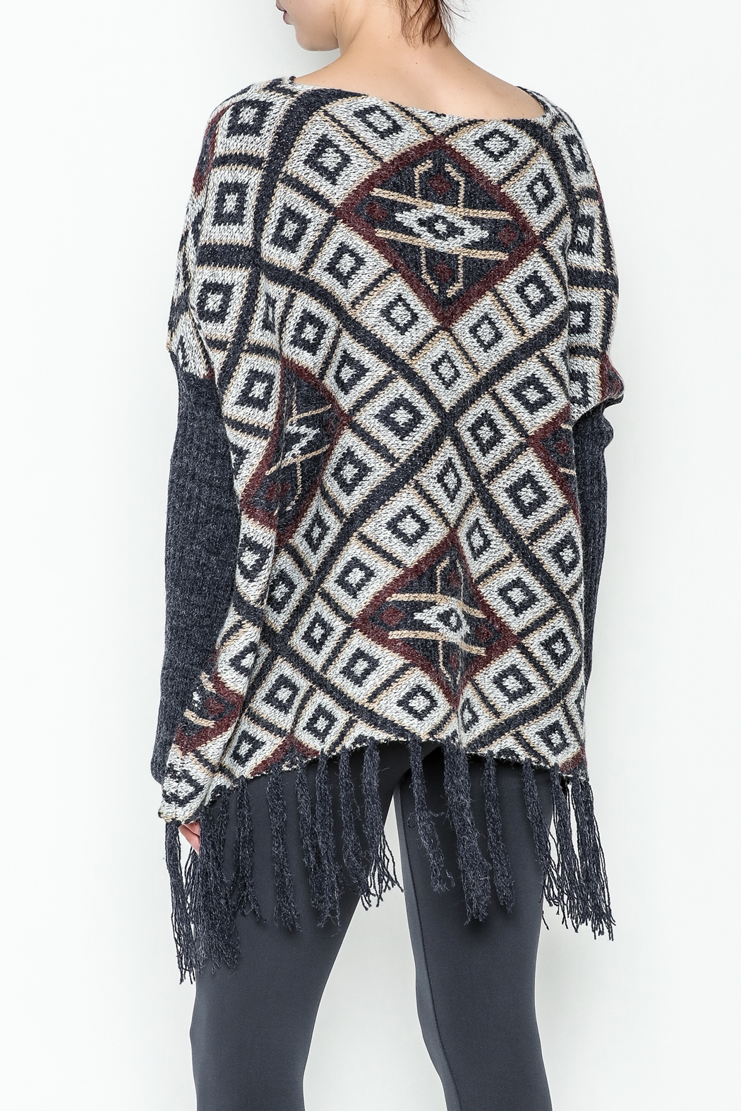 Tea n Rose Aztec Poncho Sweater - Back Cropped Image