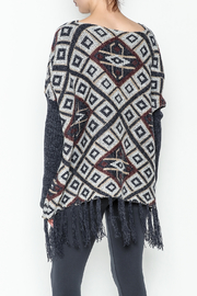 Tea n Rose Aztec Poncho Sweater - Back cropped